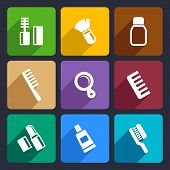 stock photo of hairspray  - Cosmetics Perfume and Tools flat Icons Set for Web and Mobile Applications - JPG