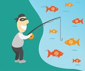 stock photo of fishermen  - Conceptual vector illustration of internet phishing with fisherman and emails - JPG