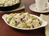 picture of portobello mushroom  - Chicken risotto with asparagus and mushrooms in a mini casserole dish - JPG