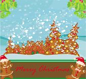 Christmas Card With A Ginger-bread And Funny Landscape