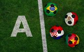 Soccer Balls With Flags Of Brazil, Mexico. Cameroon, Croatia