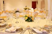 picture of reception-area  - wedding reception area ready for guests and the party on yellow colors