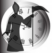 picture of scythe  - Old father time with hour glass and scythe set against a clock - JPG