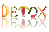 picture of minerals  - Detox text letters including fruit vegetables and a smoothie beverage - JPG