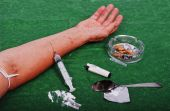 stock photo of drug addict  - Drugs addict activities and some used tools - JPG
