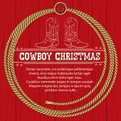 pic of lasso  - American Red Christmas background with cowboy boots and rope frame - JPG