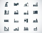 image of polluted  - Vector black factory icons set on white background - JPG