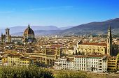aerial view of Florence, Italy, where highlight the Duomo and the Basilica di Santa Croce