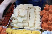 stock photo of barfi  - Mysore pak is a sweet dish usually served as dessert India - JPG