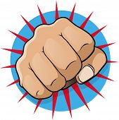 stock photo of clenched fist  - Vintage Pop Art Punching Fist - JPG