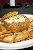 foto of artichoke hearts  - artichoke heart cheese dip appetizer with toast points - JPG