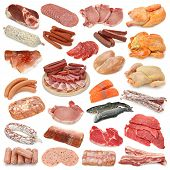picture of pork belly  - collection of various fish meat chicken salami - JPG