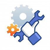 stock photo of reconstruction  - Maintenance icon with hand wrench - JPG