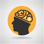 stock photo of left brain  - Creative silhouette head brain Idea concept background design - JPG