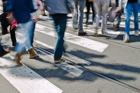 picture of jeans skirt  - People walking on a crossing on a busy workday - JPG