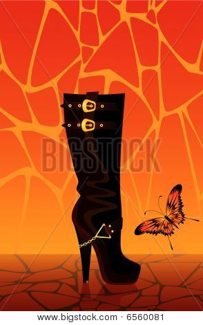 female boots with butterfly