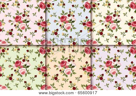 Set of vintage seamless patterns with roses. Vector eps-10.
