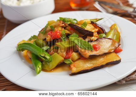 Turkish vegetable saute on a plate