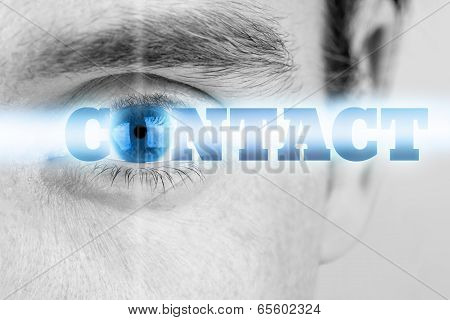 Male Eye With The Word - Contact