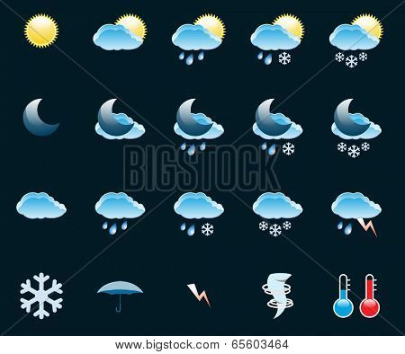 Illustration Set of Icons on a theme Weather. Vector. EPS10