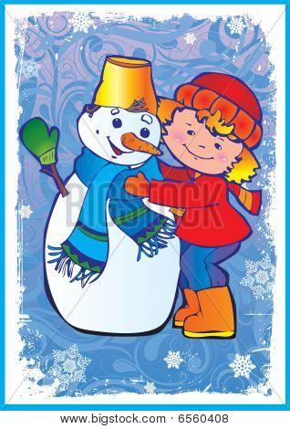 Girl making snowman.