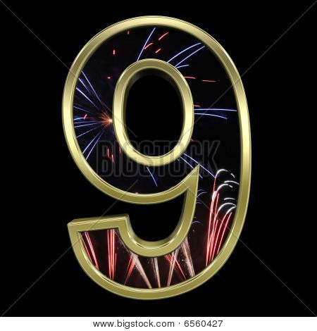 Gold digit with firework motive