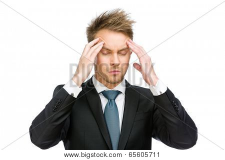 Half-length portrait of manager with closed eyes putting hands on head, isolated on white. Concept of headache and high temperature