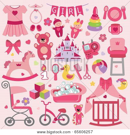 Baby Girl Items Set Collection.baby Shower Icons