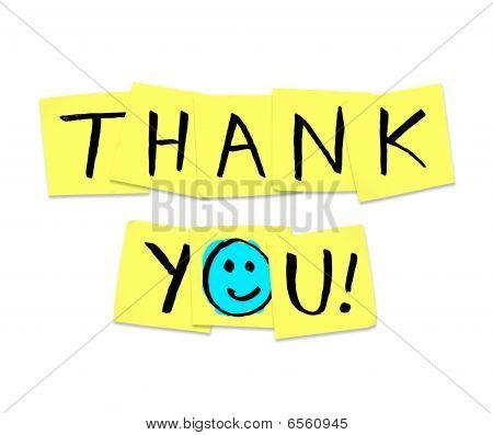 Gracias - palabras en notas adhesivas amarillos