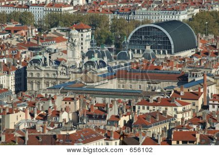 Panorama Over Lyon : The Opera And The Town Hall (France)