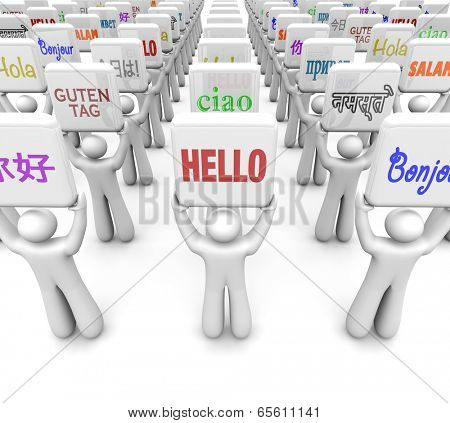 Hello word in different languages messages greeting diverse cultures