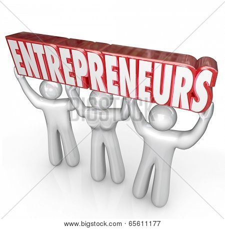 Entrepreneurs word lifted business people new company startup