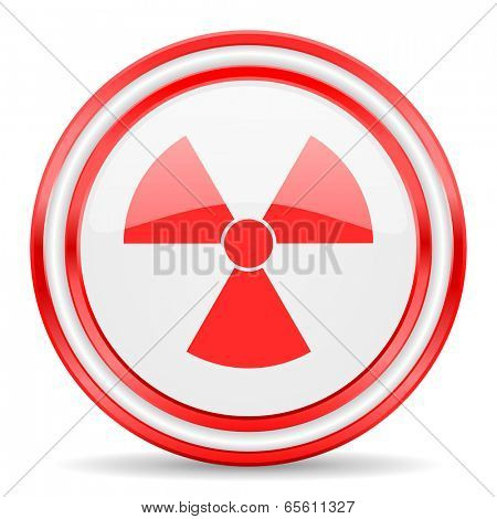 radiation red white glossy web icon