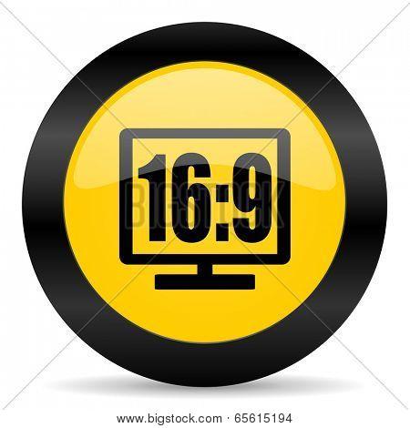 16 9 display black yellow web icon