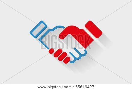 Vector handshake flat icon with long shadow. Elements are layered separately in vector file.