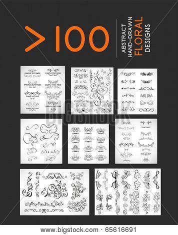 Vector hand drawn floral doodles set - cartoon frames and nature elements.