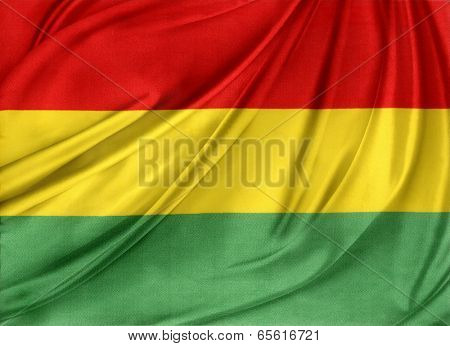 Closeup of silky Bolivian flag