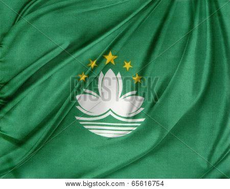 Closeup of silky Macau flag