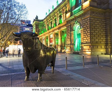 Illuminated  Stock Exchange By Night In Frankfurt