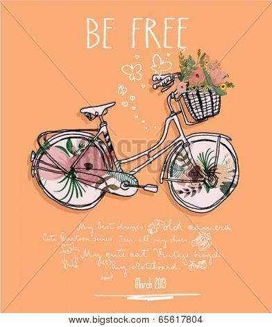 vintage bicycle flowers with background