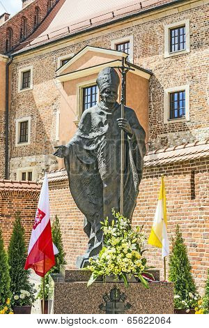 Statue Of Pope John Paul Ii On Wawel In Krakow