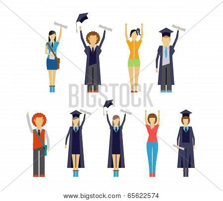 Set of cheering students and graduates