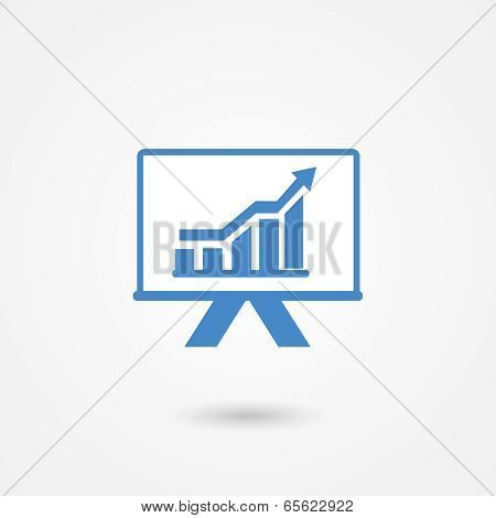 Presentation icon with a bar graph