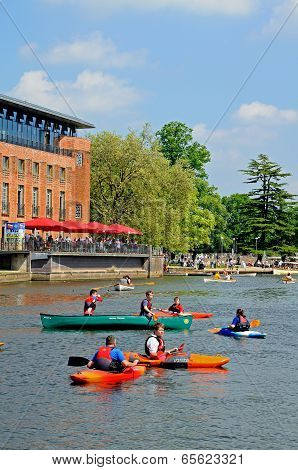 Canoes on River Avon & RSC, Stratford-upon-Avon.
