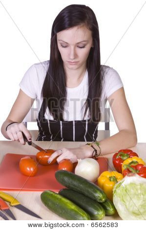 Cute Teenager Preparing Food