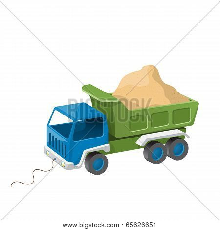 Colorful Dump Truck Toy With Sand. Vector Illustration