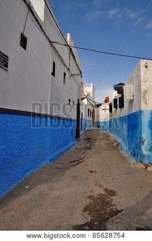 Streets painted in blue in Rabat Morocco