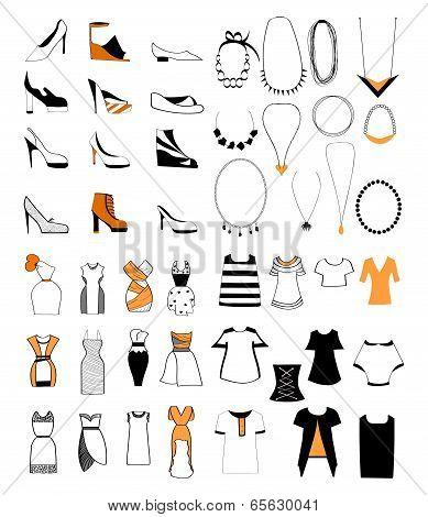 Ladies Fashion Shoes Necklace Set
