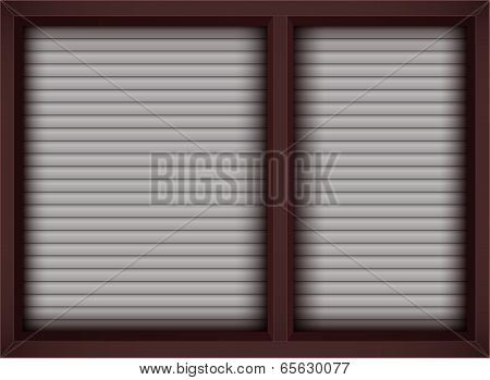 Brown Window With Opened Blinds