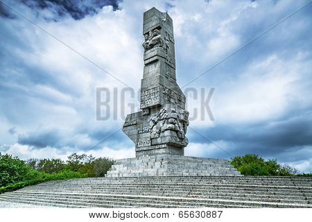 GDANSK, POLAND - 10 MAY: Westerplatte Monument in memory of the Polish defenders on 10 May 2014. Westerplatte peninsula is famous for the first battle of the European theater of World War II in 1939.